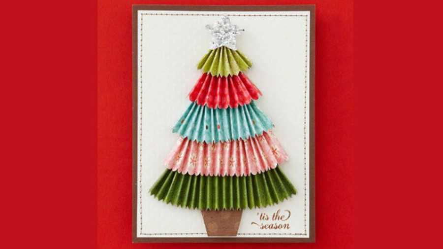 the multicoloured christmas tree card - Cheapest Christmas Cards