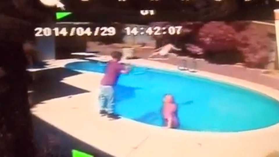 Shocking footage shows man throwing toddler face first for Pool man show
