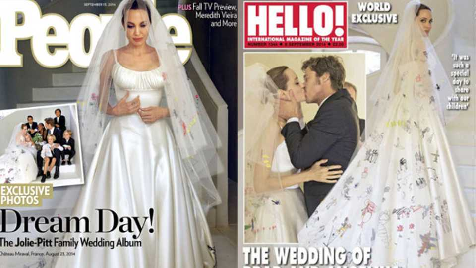 Internet reacts to Angelina Jolie\'s personalised wedding dress ...