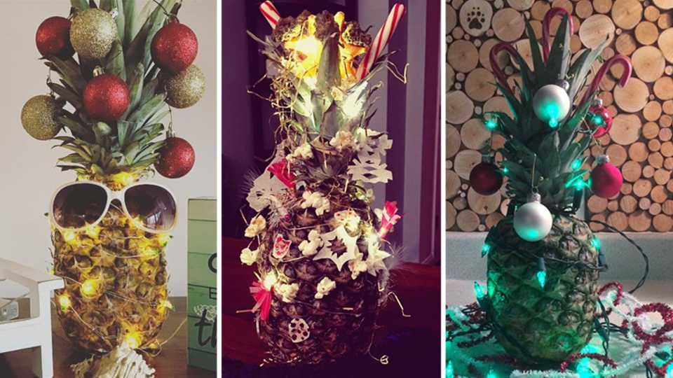 the newest christmas tree trend involves pineapples closer